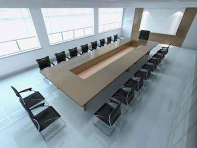 Board room with long board table